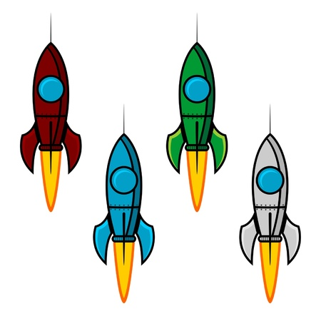 Space rocket set with different colors over white Vector