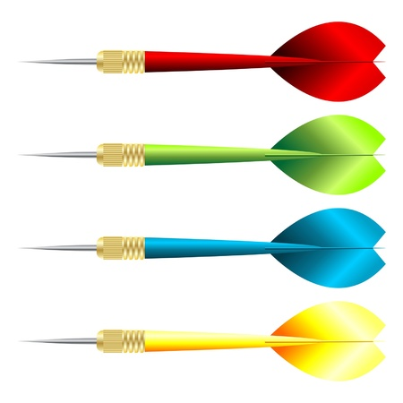 Darts with different colors over white background Stock Vector - 13516496