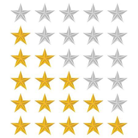 Rating stars set over white background Stock Vector - 13990283