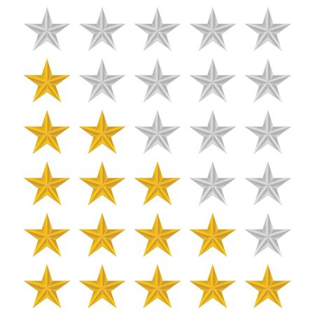 reckoning: Rating stars set over white background