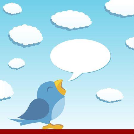 tweet balloon: Blue bird spreading the news with talking balloon
