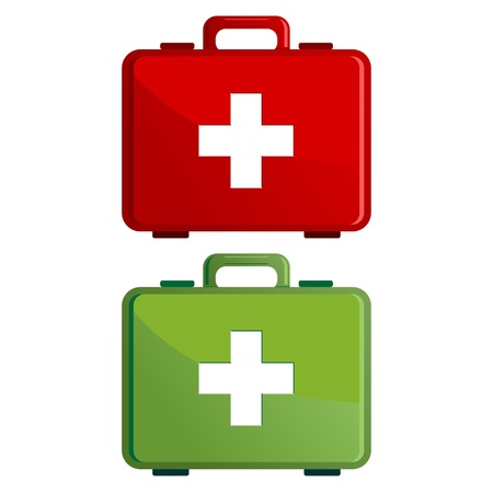 erste hilfe koffer: Rote und gr�ne Verbandskasten Fall �ber wei�e Illustration