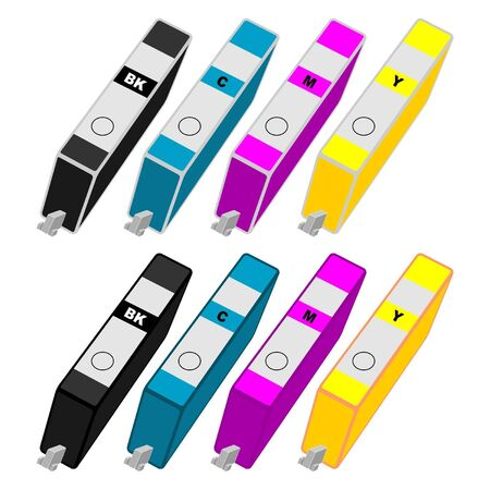 cartridges: Ink cartridges with different colors over white background