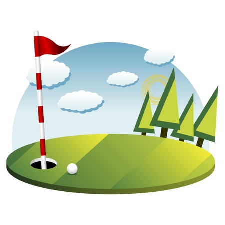 golf flag: Golf background with green flag pole and ball