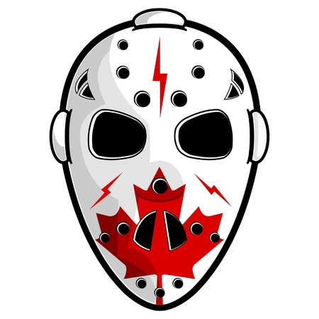 Hockey mask with canadian flag isolated over white Stock Vector - 14472681