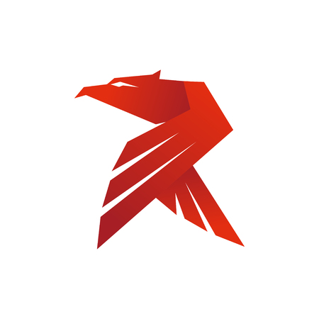 Eagle R Letter Logo isolated on plain background.