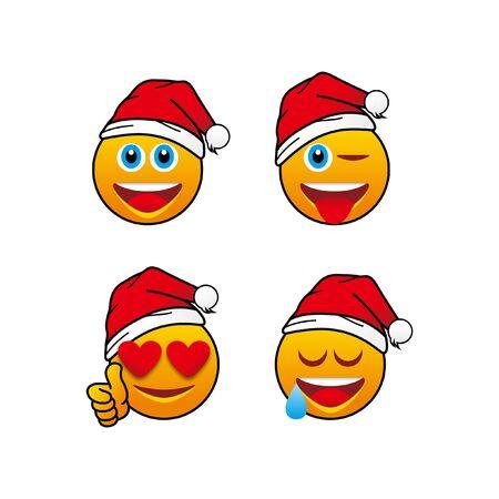 4 Christmast Emoticon isolated on plain background.