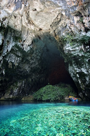 Underground lake and cave Melissani at greek island of Kefalonia.