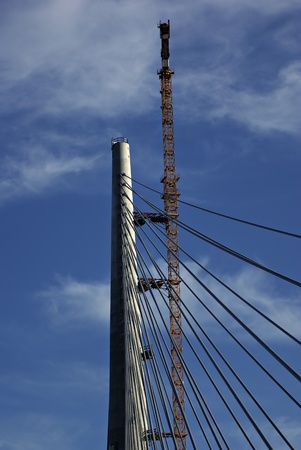 Crane and pole of new bridge over river Sava at Balgrade, Serbia