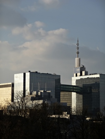 Modern town detail, glass and steel office buildings, leafless trees in front, cloudy sky in background