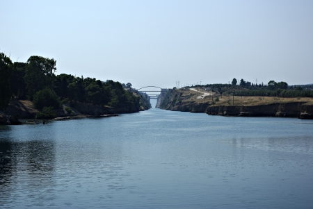 Panoramic shot of Corinth Canal at Greece at sunny summer day whit clear blue sky and sea  Stock Photo