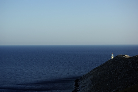 The southernmost part of Europe, Greek peninsula Peloponnese, Cape Tenaro, lighthouse and horizon