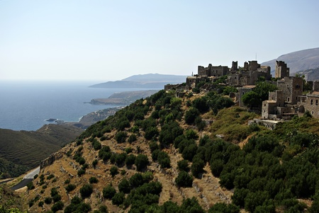 Panorama landscape of traditional old Greek village named Vathia at south Peloponnese Stock Photo - 18150600