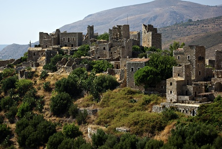 Panorama landscape of traditional old Greek village named Vathia at south Peloponnese  Stock Photo