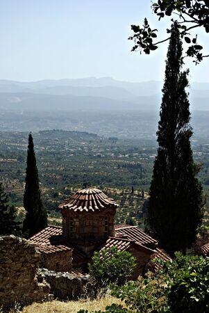Mystras is a fortified town situated on Mt. Taygetos, near ancient Sparta, it served as the capital of the Byzantine Despotate of the Morea in the 14th and 15th centuries. Stock Photo - 19378362