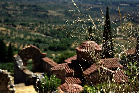 Mystras is a fortified town situated on Mt. Taygetos, near ancient Sparta, it served as the capital of the Byzantine Despotate of the Morea in the 14th and 15th centuries. Stock Photo - 19378309