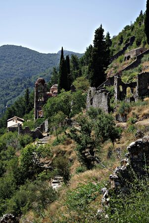 Mystras is a fortified town situated on Mt. Taygetos, near ancient Sparta, it served as the capital of the Byzantine Despotate of the Morea in the 14th and 15th centuries. Stock Photo - 19378409