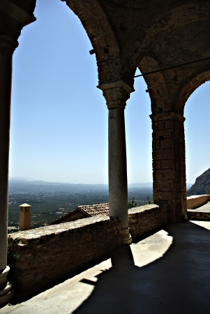 laconia: Mystras is a fortified town situated on Mt. Taygetos, near ancient Sparta, it served as the capital of the Byzantine Despotate of the Morea in the 14th and 15th centuries.