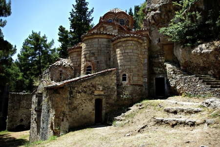 Mystras is a fortified town situated on Mt. Taygetos, near ancient Sparta, it served as the capital of the Byzantine Despotate of the Morea in the 14th and 15th centuries. Stock Photo - 19378407