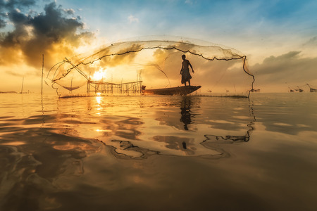 Silhouette of square dip nets, livelihoods of fishermen at Pakpra, Phattalung in Thailand