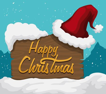wooden hat: Santas hat on wooden sign with merry Christmas message