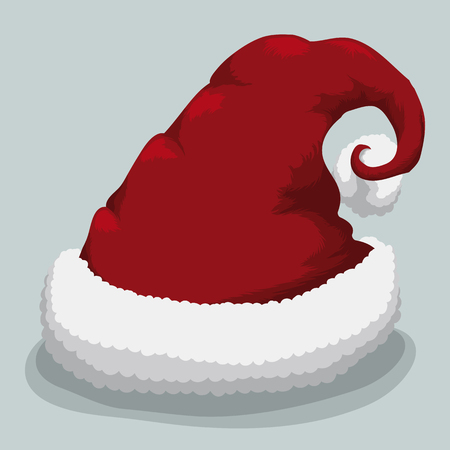 furry: Red Santas hat isolated with furry cotton base Illustration