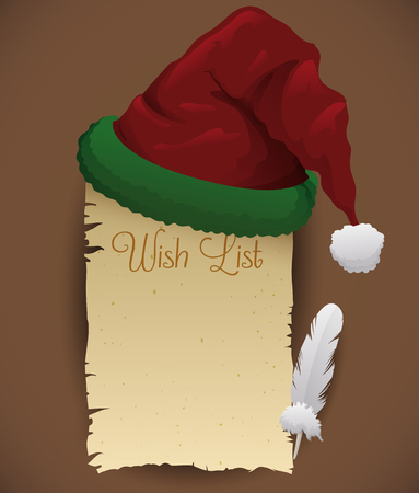 wish list: Santas hat along side with wish list ready to write on it with feather Illustration