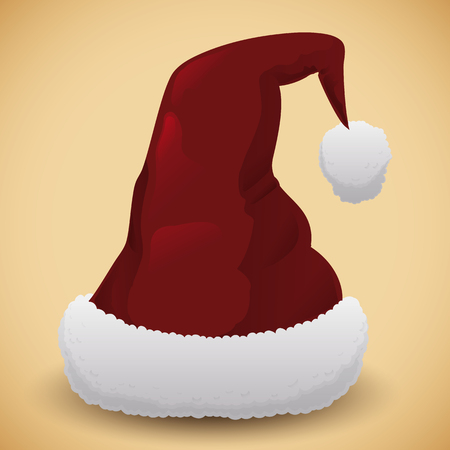 flurry: Red Santas hat isolated with white flurry cotton base on beige background Illustration