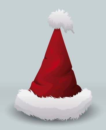 fur cap: Pointy Santas hat isolated with white furry parts Illustration