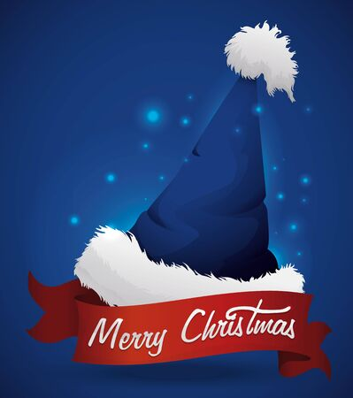 pointy hat: Blue Santas hat with red ribbon with Merry Christmas message on blue background and glows