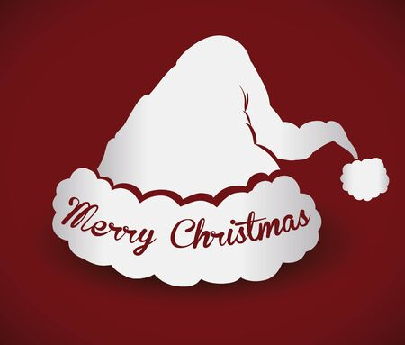 pointy hat: Silver Santas hat silhouette isolated on red background Illustration
