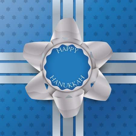 periods: Silver gift bow for Hanukkah on starry blue paper gift and silver ribbons Illustration