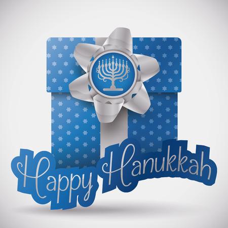 estrella de david: Regalo con el papel azul estrellado y arco de regalo con la etiqueta Feliz Hanukkah