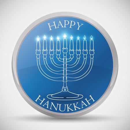 chanukiah: Traditional Hanukkah Button with Chanukiah