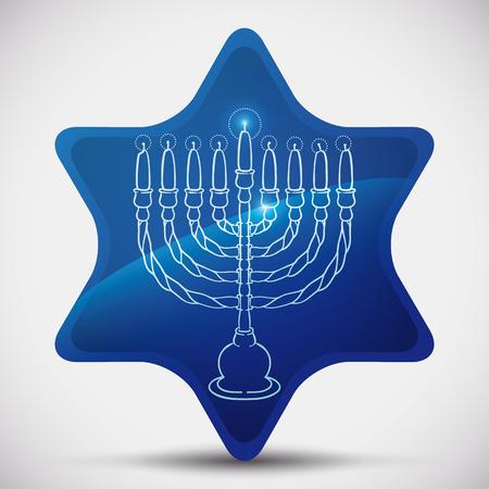 estrella de david: Belleza Janukiá dentro de la estrella de David azul iluminado con resplandores plateado y brilla Vectores
