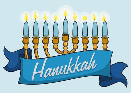 lit: All lit chanukiah in cartoon style with blue ribbon