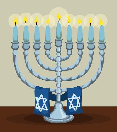 estrella de david: Todo Janukiá plata iluminada en la tabla con la bufanda azul con la estrella de David Vectores