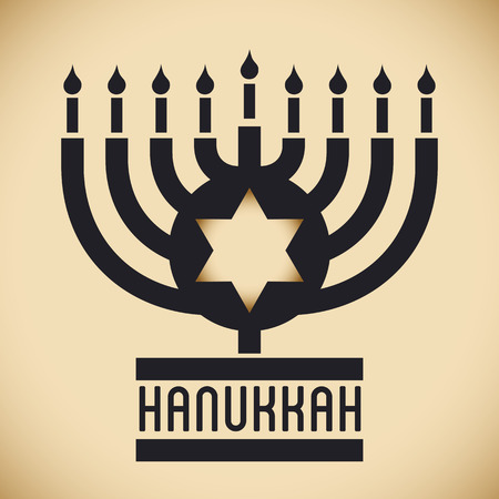 chanukiah: Chanukiah silhouette in thick line with Davids star in middle and Hanukkah message. Illustration