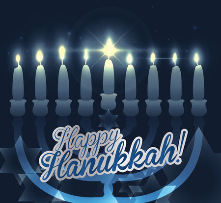 chanukiah: Realistic Chanukiah with blue background and bokeh effect with Davids star shape and messange of happy Hanukkah Illustration