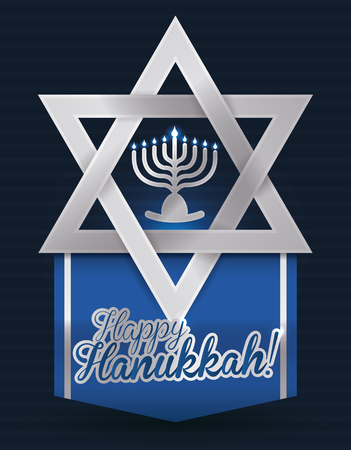 chanukiah: Beauty silver tiny Chanukiah in middle of Davids star with happy Hannukah banner Illustration