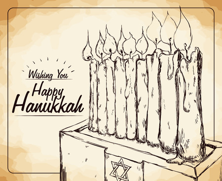 chanukiah: Hanukkahs candles representing the Chanukiah in the altar wishing you happy Hanukkah in hand drawn style Illustration