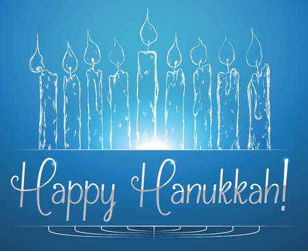 chanukiah: Hannukah candles shining on blue background with Hanukkah message Illustration