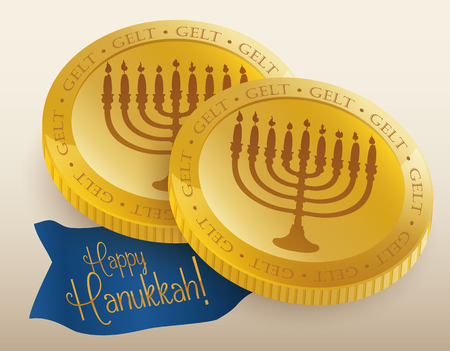 chanukiah: Realistic golden chocolate gelts with Chanukiah carving and happy Hanukkah message in ribbon Illustration