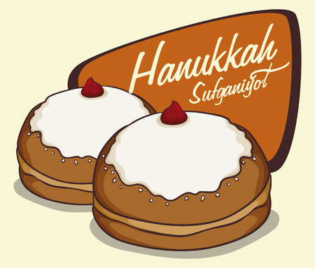 Realistic sufganiyot in cartoon style with Hanukkah message