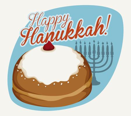 chanukiah: Delicious glazed sufgania with Chanukiah background and happy Hanukkah message Illustration