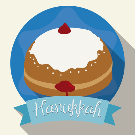 judaic: Glazed  jelly sufgania isolated with ribbon and long shadow effect