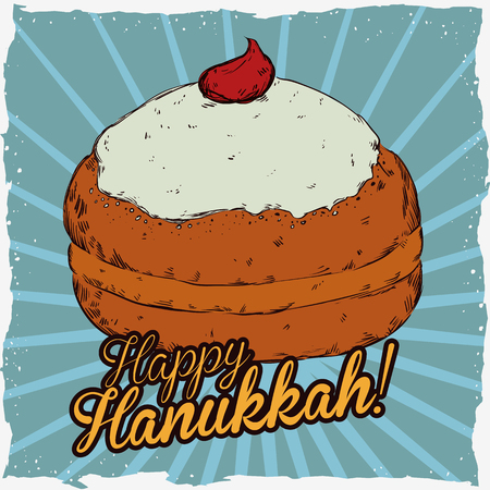 jews: Realistic sufgania in retro cartoon style with Hanukkah message