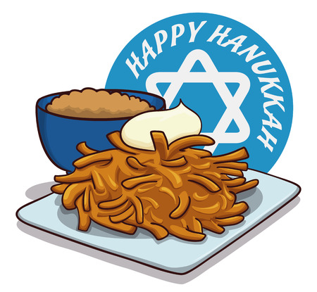 holiday message: Delightful traditional latke dish for Hanukkah with apple sauce and circle with happy holiday message