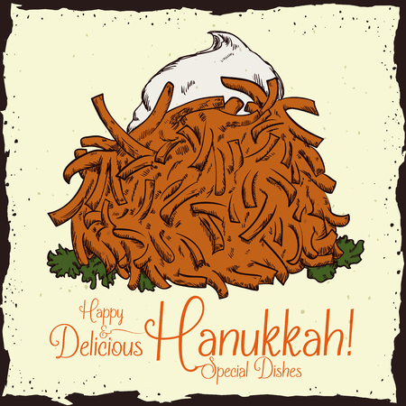 sour cream: Latke with sour cream in hand drawn style with Hanukkah greeting Illustration