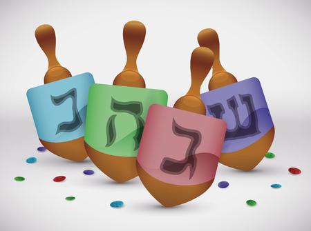 Colorful dreidels and confetti for Hanukkahs holidays